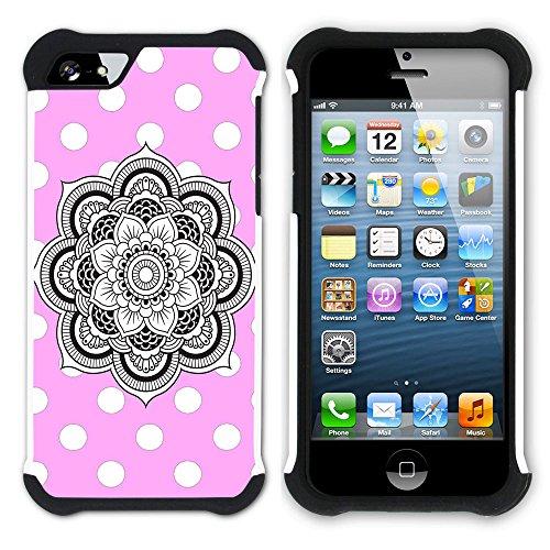 Graphic4You Mandala Blume Punktmuster Tupfen Muster (Wasserblau) Hart + Weiche Kratzfeste Hülle Case Schale Tasche Schutzhülle für Apple iPhone SE / 5 / 5S Hell-Pink