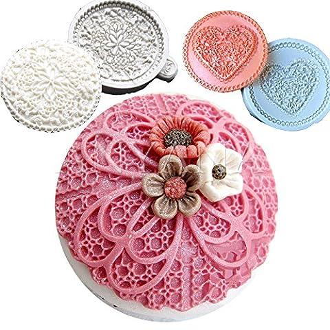 Anyana Fleur ronde Dentelle Cupcake Dessus Décoration Silicone Fondant Moule à Cake Pâtisserie Outil