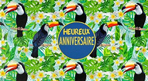 Afie 69-4202Karte glücklich Geburtstag Pailletten Tukan Vogel Tiare Blume Iles Tahiti Floral Blatt Palme Dschungel Wald Natur Tropical Exotische Sommer Zweig Holz glänzend Sommer Gebühren - Dschungel-palme