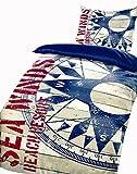 5 teilige Wendebettwäsche Microfaser 135x200 cm Kompass Holz blau rot Maritim Garnitur Set Bezug mit Bettlaken 180-200x200 cm