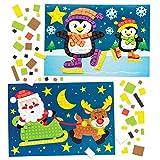 """Baker Ross Mosaiksets """"Weihnachten"""" für Kinder – für weihnachtliche Bastelarbeiten und Dekorationen (4 Stück)"""