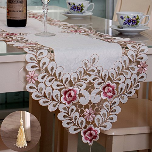 QiangZi Long Wedding Party Table Runner coloré dentelle motifs floraux nappe cuisine dinners salon décoratif, 40 * 196 cm ( taille : 30*45cm )