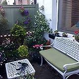 Lazy Susan - JULY Gartenbank und SANDRA Quadratischer Kaffeetisch - Gartenmöbel Set aus Metall, Weiß (Grünes Kissen)