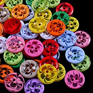 AUAUDATE 100x Mixed Color Round 2 Holes Flower Resin Buttons Sewing Craft DIY (14mm)