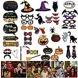 Halloween Photo Booth, 47pcs Photo Props mit Rahmen, Foto Props, Foto Accessories und Foto Requisiten zu Weihnachten am Stiel mit Schnurrbart, Maske, Brille, Krawatte, ideal für Halloween, Party