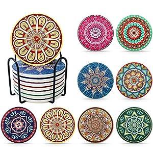 LuenHego Untersetzer Gläser Absorbierenden Keramik mit Halter, 8er Pack Dekorative Glasuntersetzer für Glas, Tassen…