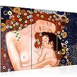 Bilder Gustav Klimt - Mutter und Kind Wandbild 120 x 80 cm Vlies - Leinwand Bild XXL Format Wandbilder Wohnzimmer Wohnung Deko Kunstdrucke Braun 3 Teilig - MADE IN GERMANY - Fertig zum Aufhängen 700231a