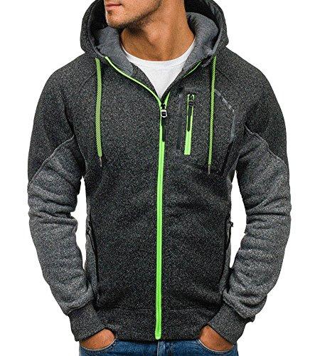 Minetom Uomo Felpa Con Cappuccio Hoodies Hooded Sweatshirt Manica Lunga Cappotto Giacca Felpe Tops Outwear Inverno Colori A Contrasto B Grigio Scuro