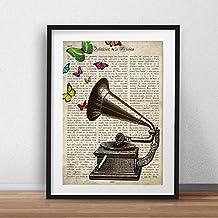 """Lámina para enmarcar """"Gramola con mariposas"""". Nacnic. Regalo vintage. Laminas para enmarcar con imágenes de música. Regalo curioso. Papel 250 gramos alta calidad"""