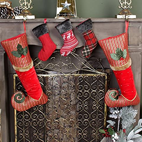 Luxury Christmas Stocking Family Set - 2 Berry Red, Green & Gold Striped Velvet Striped Elf's Missing Shoe Stockings With Holly, Fur & Bead Decoration, H47 x W22 cm & Set of 3 Mini Handmade Stockings in Cable Knit, Tartan & Reindeer Designs, H22 cm - Full of Character and Perfect for the Festive Season!