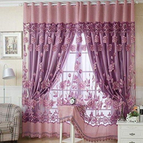 janly® 250cm * 100cm Print Floral Voile Tür Vorhang Fenster Zimmer Vorhang Trennwand Schal Elegantes Decor zum Aufhängen Vorhang, Voile, hot pink, 250cm x 100 cm /98.4'inch x 39.4'inch (Schürze Print Floral)