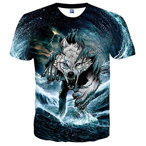 EOWJEED Unisex Creativo Casual 3D Patrón Impreso de Manga Corta Camisetas  Top Tees - XL c0d10e5684364