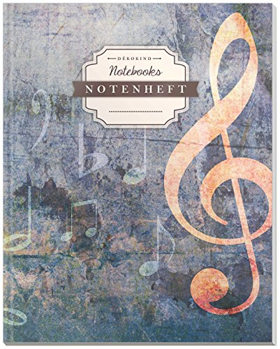 DÉKOKIND Notenheft | DIN A4, 64 Seiten, 12 Notensysteme pro Seite, Inhaltsverzeichnis, Vintage Softcover | Dickes Notenbuch | Motiv: Notenwand