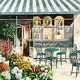 Eurographics Leinwandbild, Flower Café in Paris I, Cafe mit blauen Stühlen, Markise, Gemälde, bunt, 55 x 55 x 2,5 cm