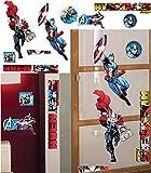Unbekannt 9 Stück: XL Wandsticker _  Avengers / Thor & Captain America  - selbstklebend + wiederverwendbar - 68 cm ! - Aufkleber für Kinderzimmer - Wandtattoo / Stick..