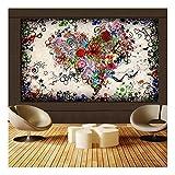 XIAOXINYUAN Poster Print Mehrere Blume Kombiniert in Herz Liebe Kunst Abstrakte Ölgemälde auf Leinwand Wandkunst Bild Sofa Home Decor 20X30 cm