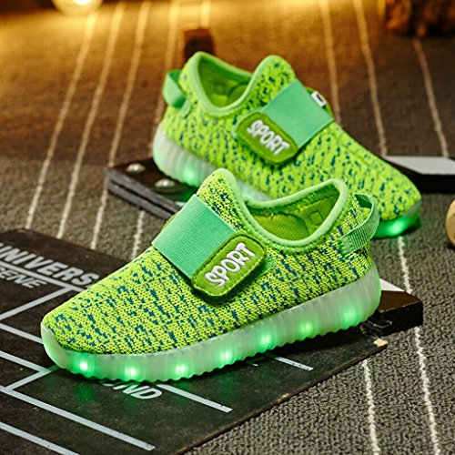 ACME LED Leuchtend Schuhe Sneaker Sportschuhe Turnschuhe mit USB Aufladen und 7 Farbe Farbwechsel für Kinder Jungen Mädchen Grün