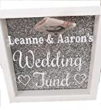 Fondo di nozze d' argento glitter sfondo bianco salvadanaio di box cornice coppia personalizzabile con nomi