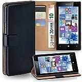 moex Microsoft Lumia 532 | Hülle Schwarz mit Karten-Fach 360° Book Klapp-Hülle Handytasche Kunst-Leder Handyhülle für Nokia Lumia 532 Case Flip Cover Schutzhülle Tasche
