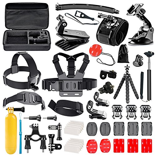 Galleria fotografica Followsun 52-In-1 Accessori per GoPro Hero Session/5 Hero 1 2 3 3+ 4 5, Kit per Action Camera SJ4000 SJ5000 SJ6000 SJ7000 DBPOWER AKASO VicTsing APEMAN WiMiUS Rollei QUMOX Lightdow Campark Sony Sports