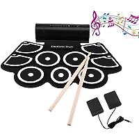 LESHP Batterie électronique avec pad de Percussion, portable électronique Roll Up Tambour, Parfait pour les Débutants et les Enfants - électronique Roll Up Drum Pad avec Stick