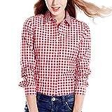 semen Damen Karierte Blusen Langarmhemd Karierte Bluse Plaid Shirt Hemd Slim Fit Langarm Beiläufige Oberseite