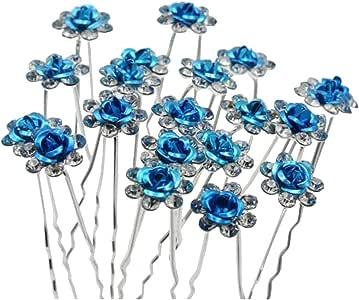 Contever/® Elegante 20 pz di Cerimonia Nuziale Della Festa Nuziale Artificiale Diamante Strass e Fiore di Promenade dei Perni di Capelli Clip Grips Pins Forcine Bianca