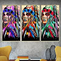 song710 Great Indian Native American Girl Canvas Feathers Oil Painting For Living Room Wall Art Prints Abstract Portrait Decoration Picture