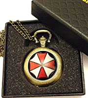 Resident Evil - Umbrella Corporation Quartz Pocket Watch Necklace - Antique Bronze Effect - GIFT BOXED WITH FREE SPARE BATTERY