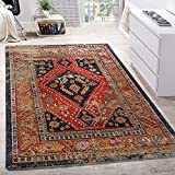 Paco Home Designer Teppich Modern Kurzflor Orientalisch Design Schwarz Rot Türkis Beige, Grösse:200x290 cm