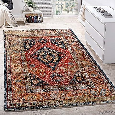 Designer Teppich Modern Kurzflor Orientalisch Design Schwarz Rot Türkis Beige, Grösse:80x150 cm