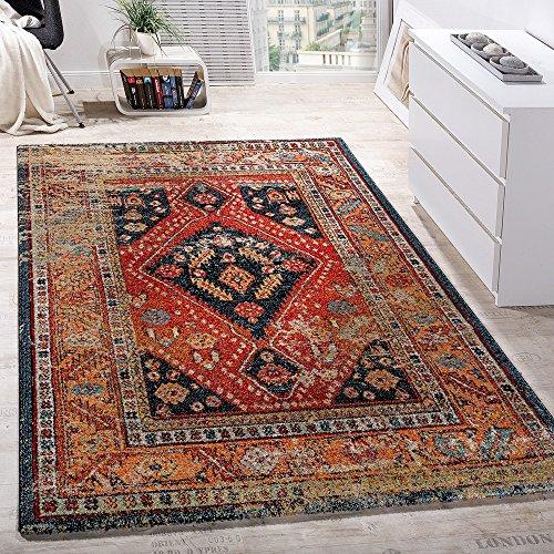 Tappeto di design moderno a pelo corto con motivo orientale nero rosso turchese beige, dimensione:80x150 cm