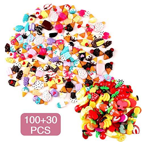 Gemischtes Süßigkeiten-Eis Schleim-Charm-Set, 130 Stück, sortierte Früchte, Süßigkeiten, flache Rückseite, Kunstharz, für DIY Scrapbooking, Basteln, Schleim, Charm-Clips, Dekoration