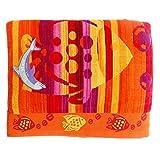 Jumbo Telo Mare 2 Posti Due Piazze Matrimoniale Cotone Spugna Egiziana 100% varicolori (Pesci Arancio)