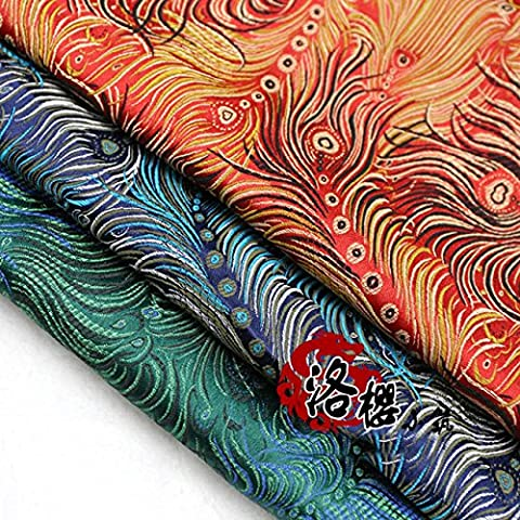 Nueva hanfu del traje de lechuga romana de satén de seda cheongsam ropa avanzados tejidos jacquard damasco mdash tela de brocado. cola del pavo real