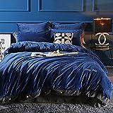 Dicke warme Winter Crystal Cashmere Vier Stück Bettwäsche. Reines Kaschmir Coral Fleece 1,8 m Bett Quilt, Deep Blue Ash, 1,8 m (6 Fuß) Bett