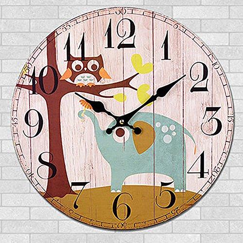 Orologio da parete ukey 30,5cm vintage in legno silenzioso non ticchettio numeri arabi orologi da parete per soggiorno, camera da letto e la decorazione domestica (batteria non inclusa) elephant