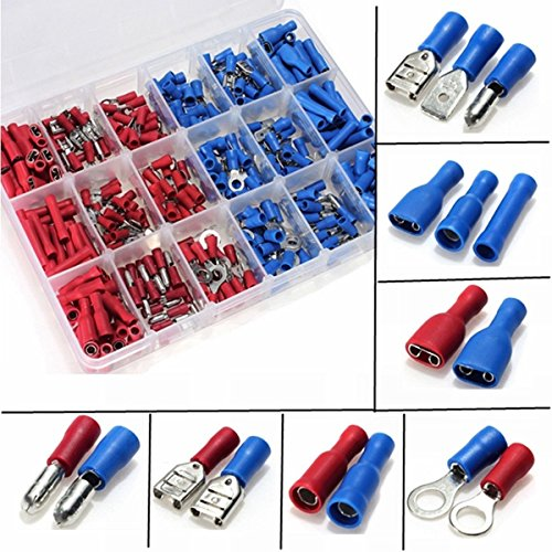 360pcs Conectores eléctricos, Sopoby Mixed Assorted Lug Kit Insulated Spade Wire Conector Crimp Terminal Spade Ring Se