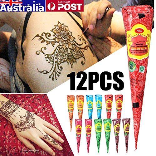 Tatuaje Temporal India Luckyfine 12 piezas Pintura Corporal Facial Natural Tatuaje Dorado Tatuaje Pegatina Multi Color