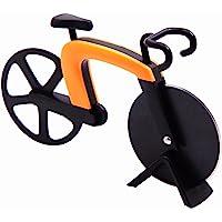 G a HOMEFAVOR Tagliapizza a Forma di Bicicletta in Acciaio Inox Lame con Rivestimento Antiaderente Utensili da Cucina con Cavalletto