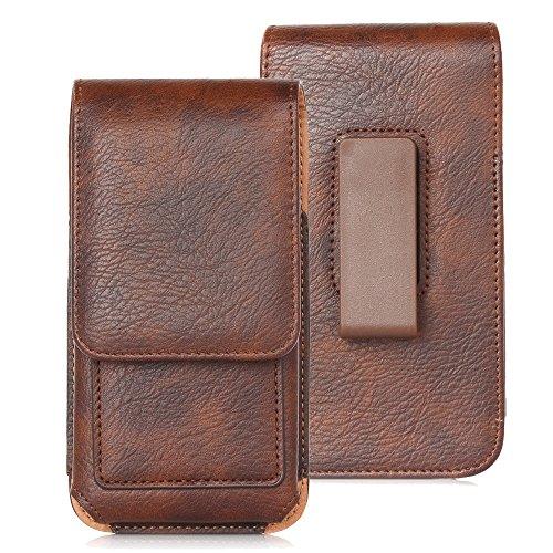 DAYNEW für 5.5 Zoll Universal-PU-Leder Hüfttasche Handytasche Tasche Smartphone SHuawei Honor Play 7/Y5 Prime/Y7 Prime/nova 2 plus/Y7/P10 Plus/Honor 6X-Braun