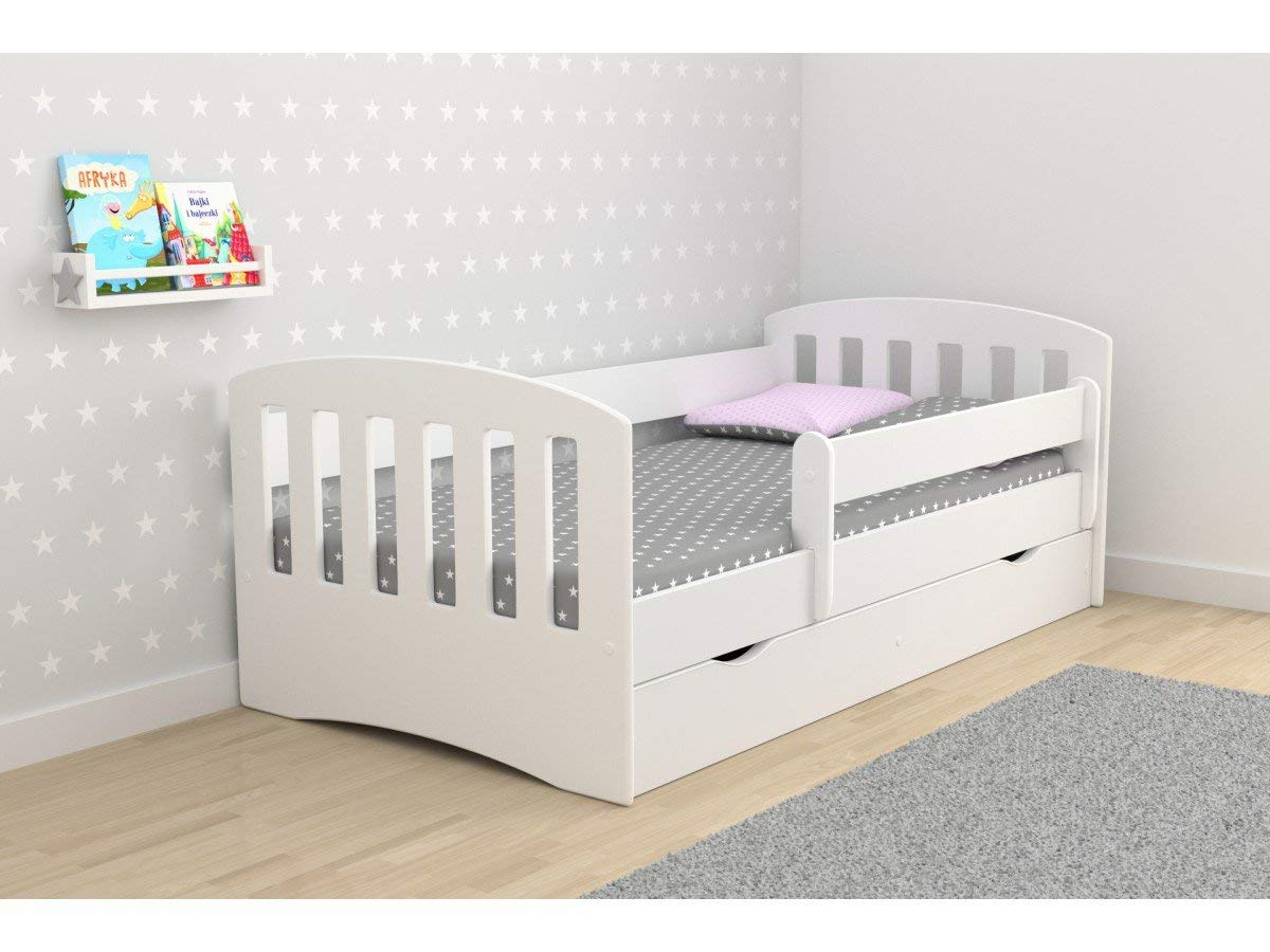 Toddler Bed Kids Bed Junior Children's Single Bed with Mattress and Storage Included - Classic (180x80, Beech)