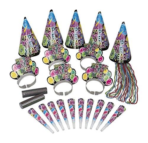 Silvester Partybox New Year Celebration für 10 Personen - Tiaras, Hüte, Tröten, Ketten & Co
