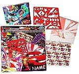 alles-meine.de GmbH XL Malblock / Malset -  Disney Cars - Lightning McQueen  - incl. Name - mit Schablonen + Sticker / Aufkleber + Motiv Papierbögen / Buntpapier - Malvorlagen ..