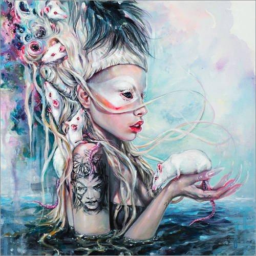 Poster 70 x 70 cm: Yolandi Die Ratten Herrin von Tanya Shatseva - hochwertiger Kunstdruck, neues (Beängstigend Ratten)