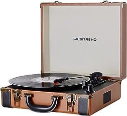 MUSITREND Giradischi con funzione di convertire vinili in fili MP3, Marrone & Nero