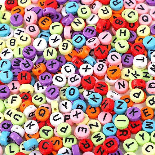 Outuxed 1000 Stück 4x7mm Buchstabenperlen Gemischte Bunte Acryl Schwarz Flache Runde Alphabet-Perlen für Armband, Halskette und Anderes Handwerk (Blaue Kunststoff-perlen-halskette)