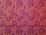 Minerva Crafts Brokatstoff, Blumenmuster, Rot/Violett –