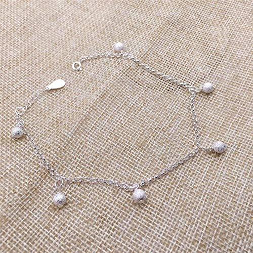 ZNYH 990 Sterling Silber Fußkettchen weibliche runde Perle Glocke Fußkettchen Fußschmuck Fußkette Sterling Silber Transferperlen Fußkette Fußsilber