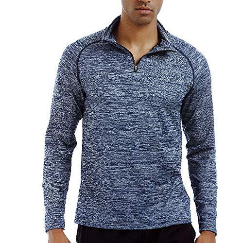 ZIYOU Herren Fitness Elastische T-Shirt mit Stehkragen Laufen Schnell Trocknende Langarm Oberteile Tee(Blau,EU-46 / CN-M)